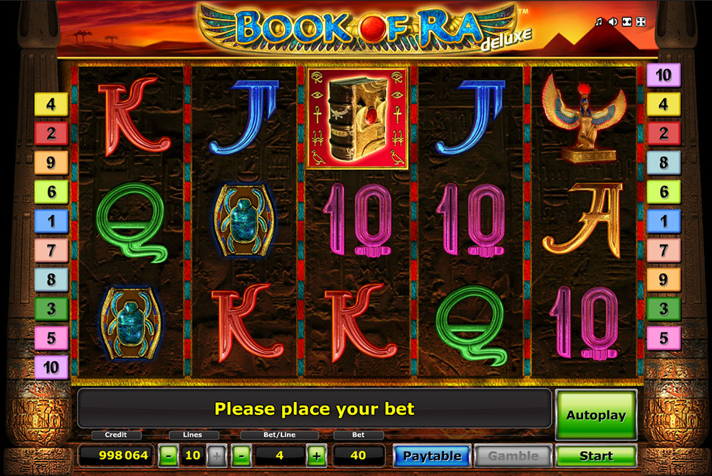 Egyptian themed slot Book of Ra from Novomatic