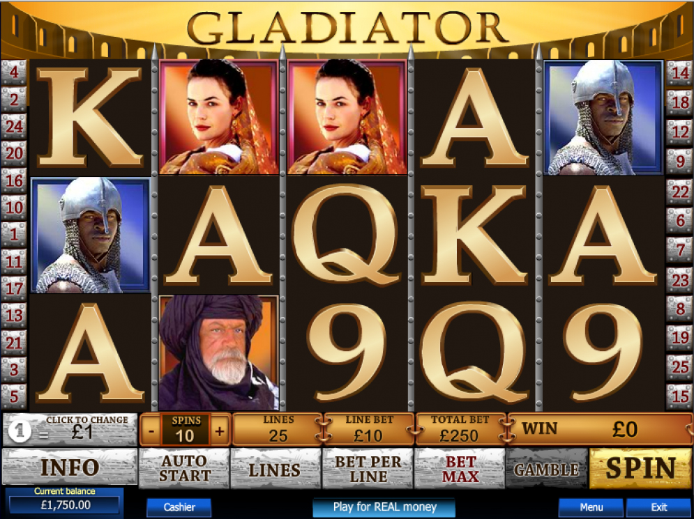 Gladiator HTML5 slot game by Playtech casino supplier