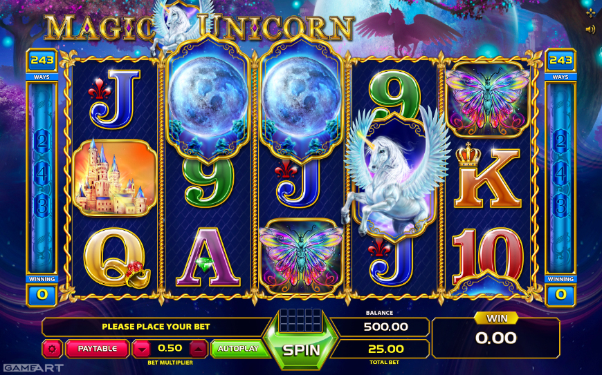 Unicorn Magic slot game by Novomatic casino vendor