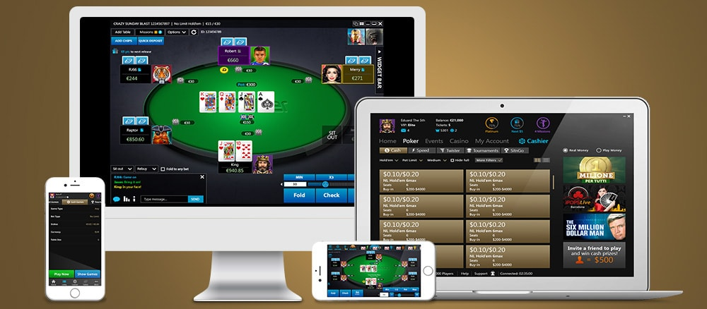 Interface features for online casino