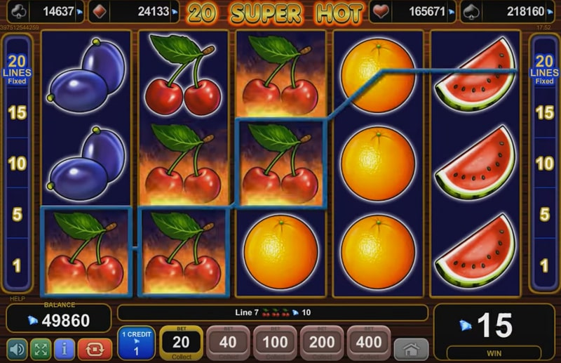 HTML5 slot from EGT: 20 Super Hot