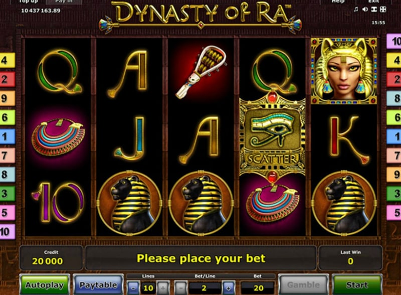 Slot game from Greentube: Dynasty of Ra