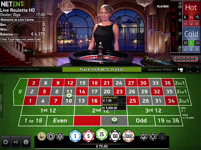 Net Ent roulette with live dealer